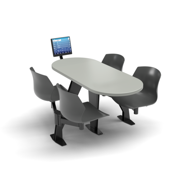 CS, Swing Swivel, Oval Fashion Gray Table, Road Plastic with Chair Black Weldment