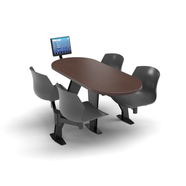 CS, Swing Swivel, Oval Formal Mahogany Table, Road Plastic Chair with Black Weldment