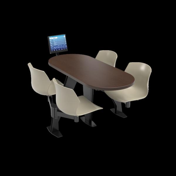 CS, Swing Swivel, Oval Gunstock Savoy Table, Sandy Plastic Chair with Black Weldment