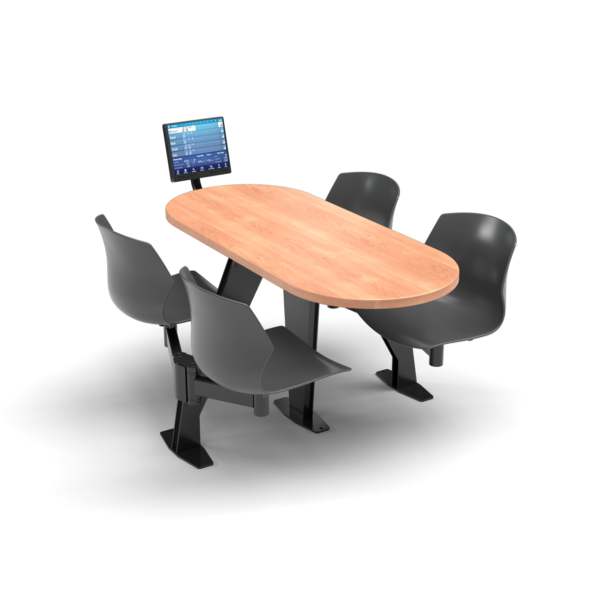 CS, Swing Swivel, Oval Honey Maple Table, Road Plastic Chair with Black Weldment