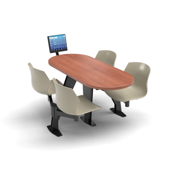 CS, Swing Swivel, Oval Oiled Cherry Table, Sandy Chair with Black Weldment