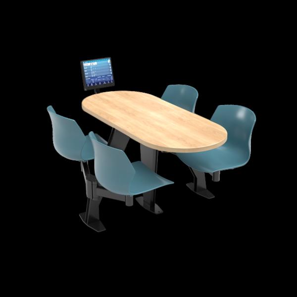 CS, Swing Swivel, Oval Sugar Maple Table, Grayblue Plastic Chair with Black Weldment