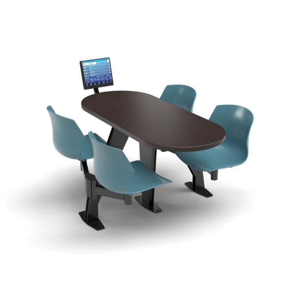CS, Swing Swivel, Oval Witchcraft Table, Grayblue Plastic Chair with Black Weldment