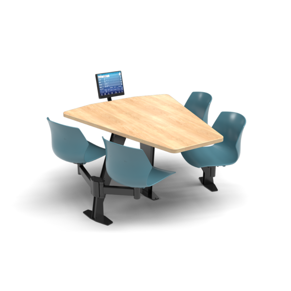 CS, Swing Swivel, Shield Sugar Maple Table, Grayblue Plastic Chair with Black Weldment