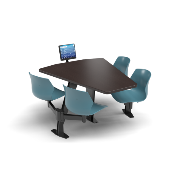 CS, Swing Swivel, Shield Witchcraft Table, Grayblue Plastic Chair with Black Weldment