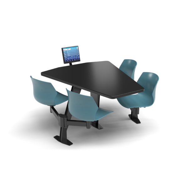 CS, Swing Swivel, Shield Black Table, Grayblue Plastic Chair with Black Weldment