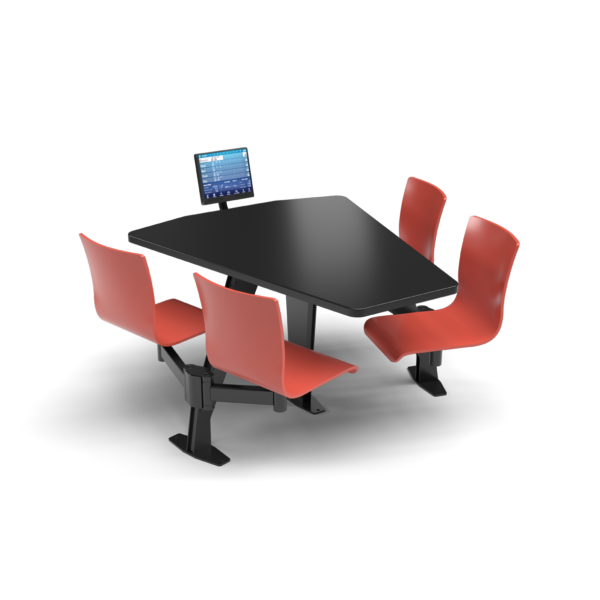 CS, Swing Swivel, Shield Black Table, Cafe Sienna Plyform Chair with Black Weldment