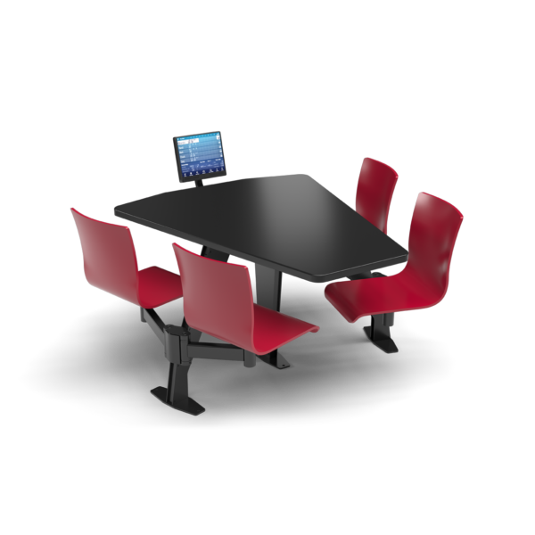 CS, Swing Swivel, Shield Black Table, Carmen Red Plyform Chair with Black Weldment