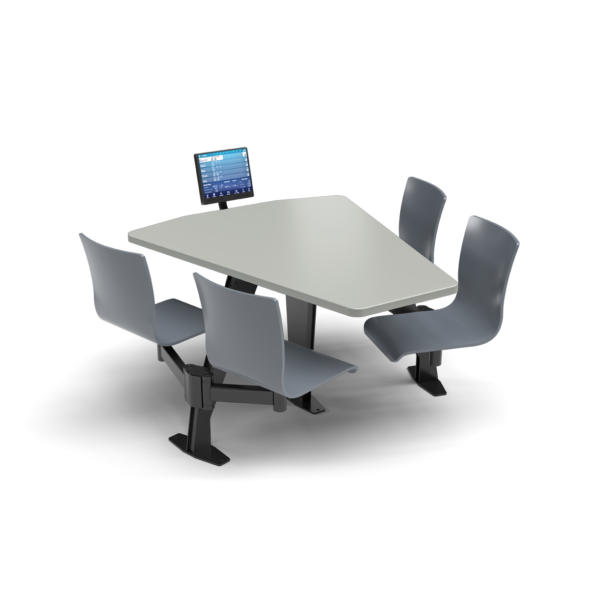 CS, Swing Swivel, Shield Fashion Gray Table, Graphite Blue Plyform Chair with Black Weldment
