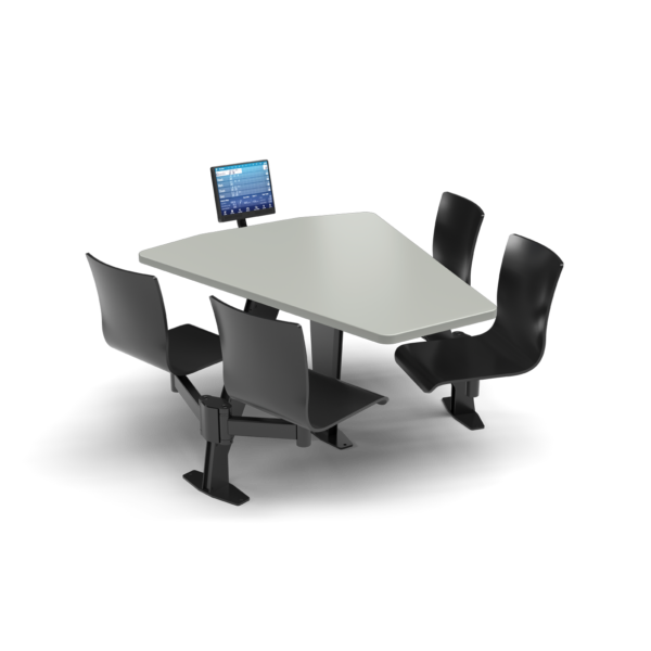 CS Swing Swivel, Shield Fashion Gray Table, Jet Black Plyform Chair with Black Weldment