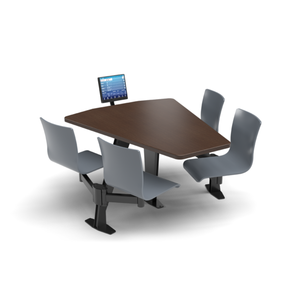 CS, Swing Swivel, Shield Gunstock Savoy Table, Graphite Blue Plyform Chair with Black Weldment