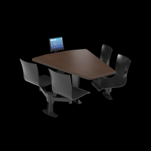 CS, Swing Swivel, Shield Gunstock Savoy Table, Jet Black Plyform Chair with Black Weldment