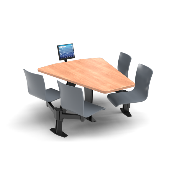 CS, Swing Swivel, Shield Honey Maple Table, Graphite Blue Plyform Chair with Black Weldment