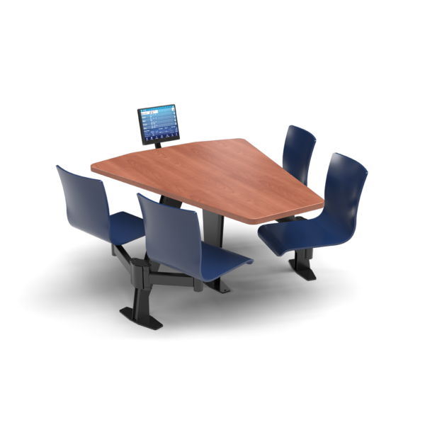 CS, Swing Swivel, Shield Oiled Cherry Table, Regimental Blue Plyform Chair with Black Weldment