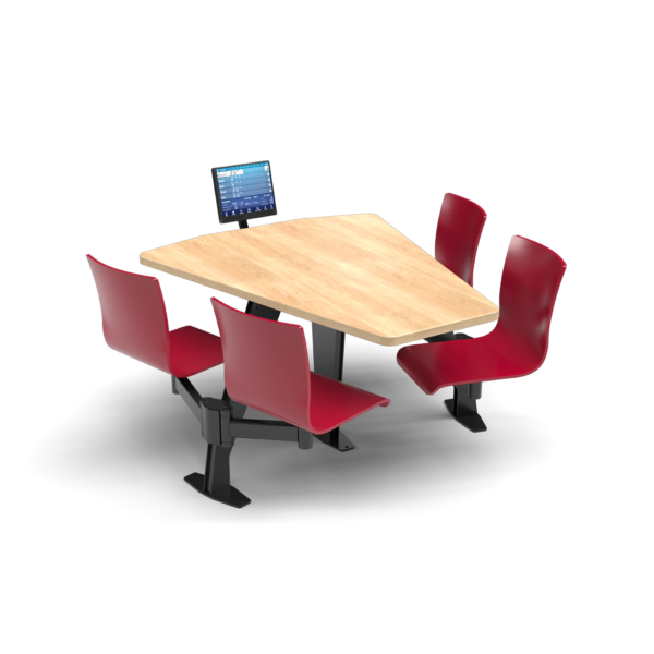 CS, Swing Swivel, Shield Sugar Maple Table, Carmen Red Plyform Chair with Black Weldment