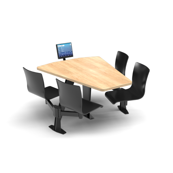CS, Swing Swivel, Shield Sugar Maple Table, Jet Black Plyform Chair with Black Weldment
