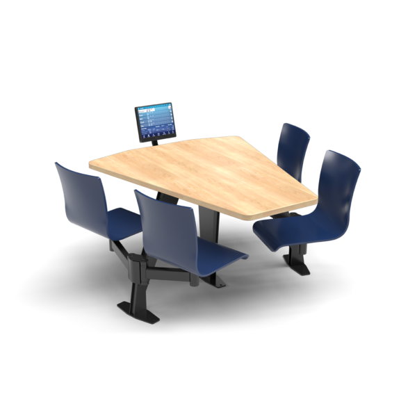 CS, Swing Swivel, Shield Sugar Maple Table, Regimental Blue Plyform Chair with Black Weldment