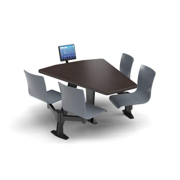 CS, Swing Swivel, Shield Witchcraft Table, Graphite Blue Plyform Chair with Black Weldment