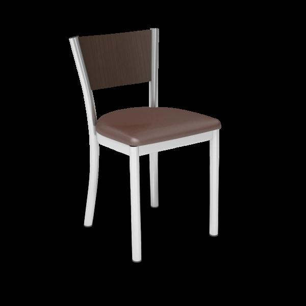 Center Stage Artisan Chair. Mocha Vinyl, Gunstock Savoy & Silver Weldment