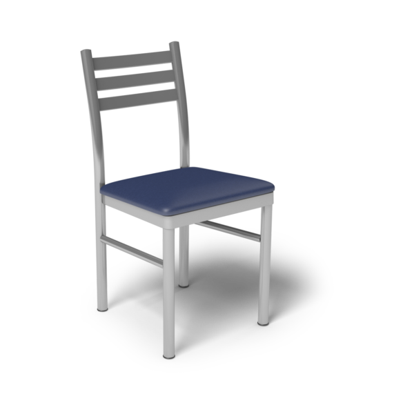Center Stage, Ladder Back Chair. Royal Vinyl Seat & Silver Weldment