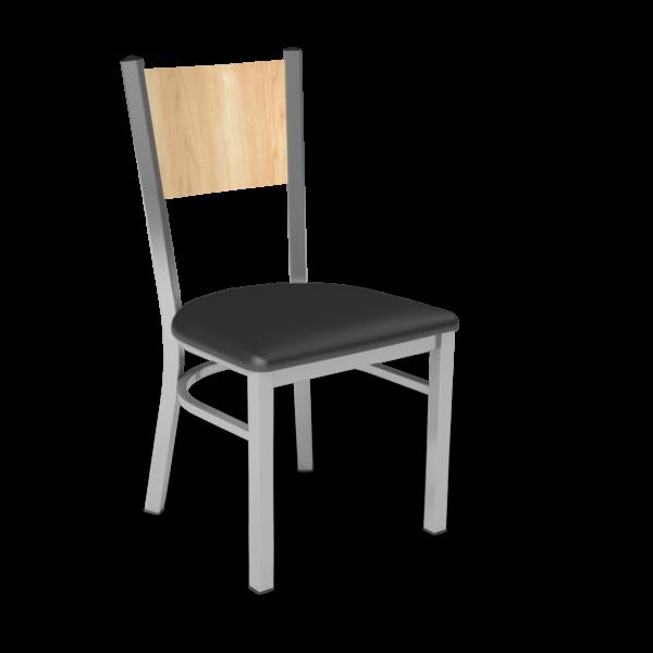 Center Stage, Mama Melissa Chair. Black Vinyl, Sugar Maple Seat Back & Silver Weldment