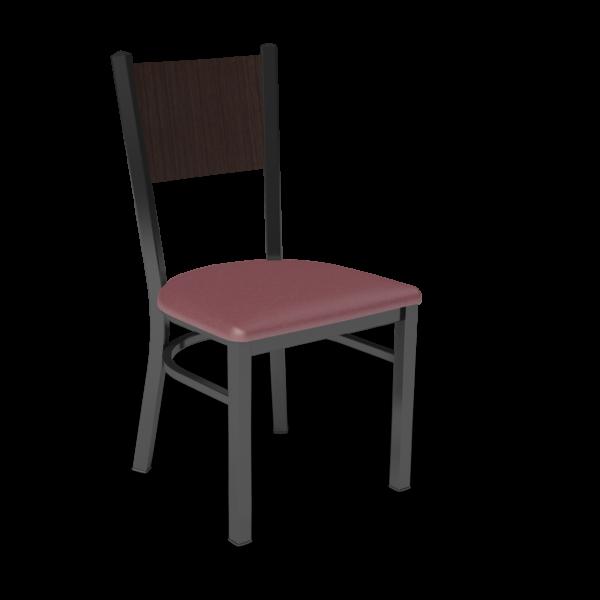 Center Stage, Mama Melissa Chair. Dark Cherry Vinyl, Witchcraft Seat Back & Black Weldment