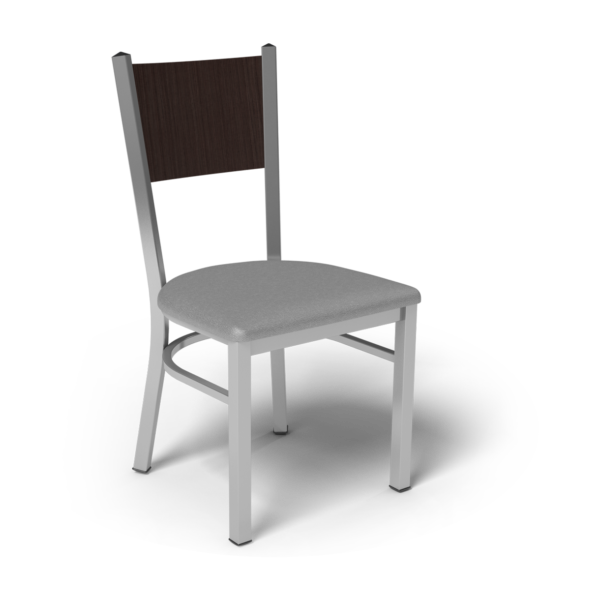 Center Stage, Mama Melissa Chair. Dove Vinyl, Witchcraft Seat Back & Silver Weldment