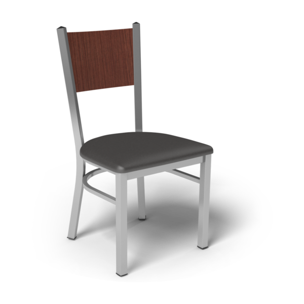 Center Stage, Mama Melissa Chair. Espresso Vinyl, Formal Mahogany Seat Back & Silver Weldment