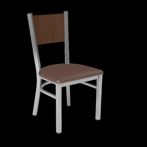 Center Stage, Mama Melissa Chair. Mocha Vinyl, Gunstock Savoy Seat Back & Silver Weldment