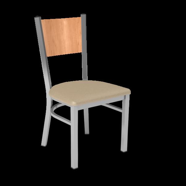 Center Stage, Mama Melissa Chair. Sand Vinyl, Honey Maple Seat Back & Silver Weldment