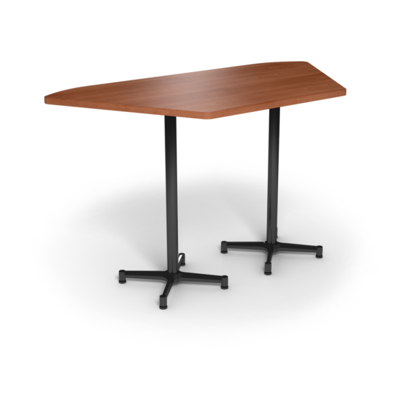 Center Stage, Trapezoid, Bar Height Table. Oiled Cherry & Black Weldment