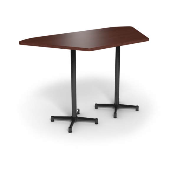 Center Stage, Trapezoid, Bar Height Table. Formal Mahogany & Black Weldment