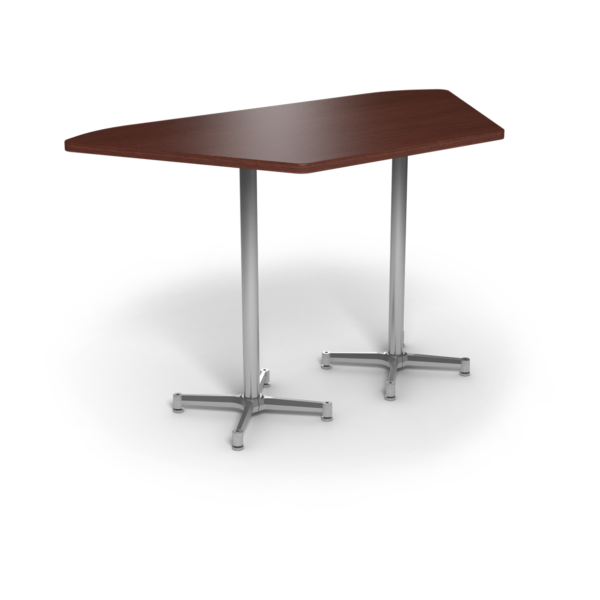 Center Stage, Trapezoid, Bar Height Table. Formal Mahogany & Silver Weldment