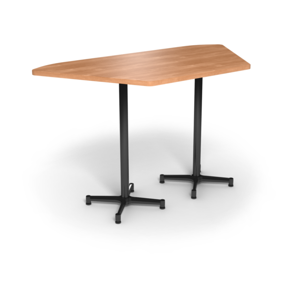 Center Stage, Trapezoid, Bar Height Table. Honey Maple & Black Weldment
