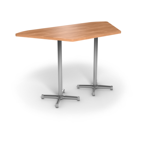 Center Stage, Trapezoid, Bar Height Table. Honey Maple & Silver Weldment