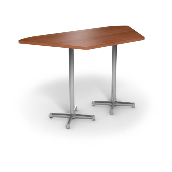 Center Stage, Trapezoid, Bar Height Table. Oiled Cherry & Silver Weldment