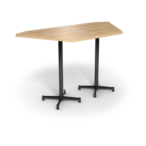 Center Stage, Trapezoid, Bar Height Table. Sugar Maple & Black Weldment