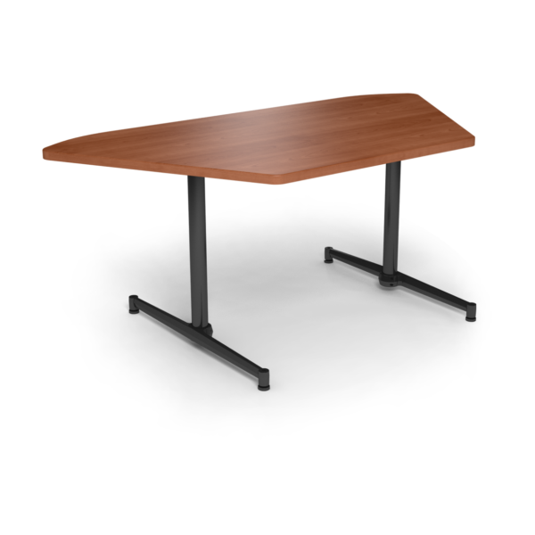 Center Stage, Trapezoid Table Height Table. Oiled Cherry & Black Weldment