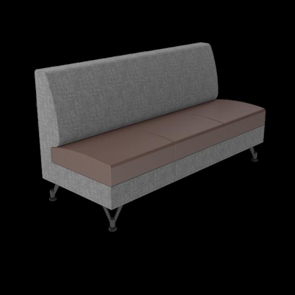Center Stage Triple Seat. Cover cloth vesper & mocha vinyl